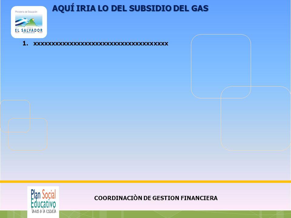 COORDINACIÒN DE GESTION FINANCIERA 1.xxxxxxxxxxxxxxxxxxxxxxxxxxxxxxxxxxxxx AQUÍ IRIA LO DEL SUBSIDIO DEL GAS
