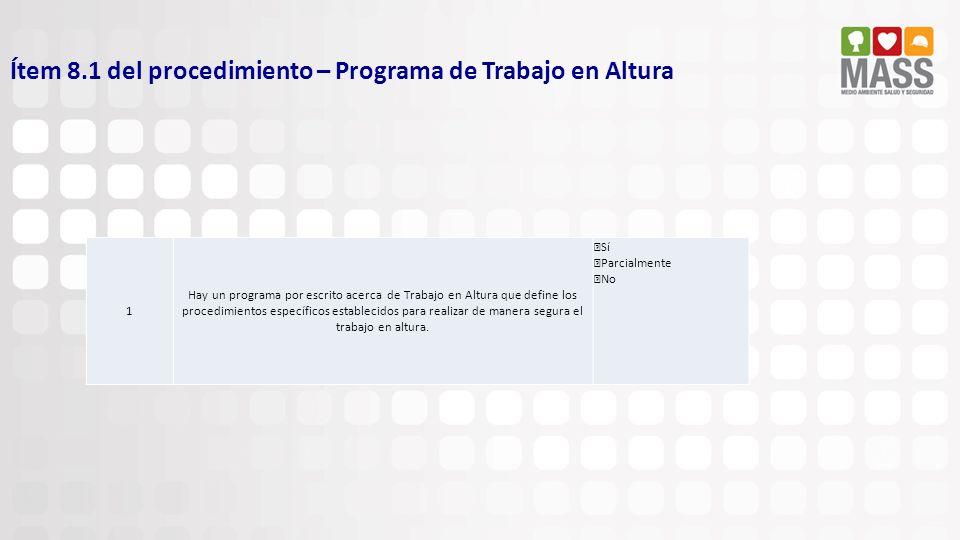 Ítem 8.1 del procedimiento – Programa de Trabajo en Altura 1 Hay un programa por escrito acerca de Trabajo en Altura que define los procedimientos esp