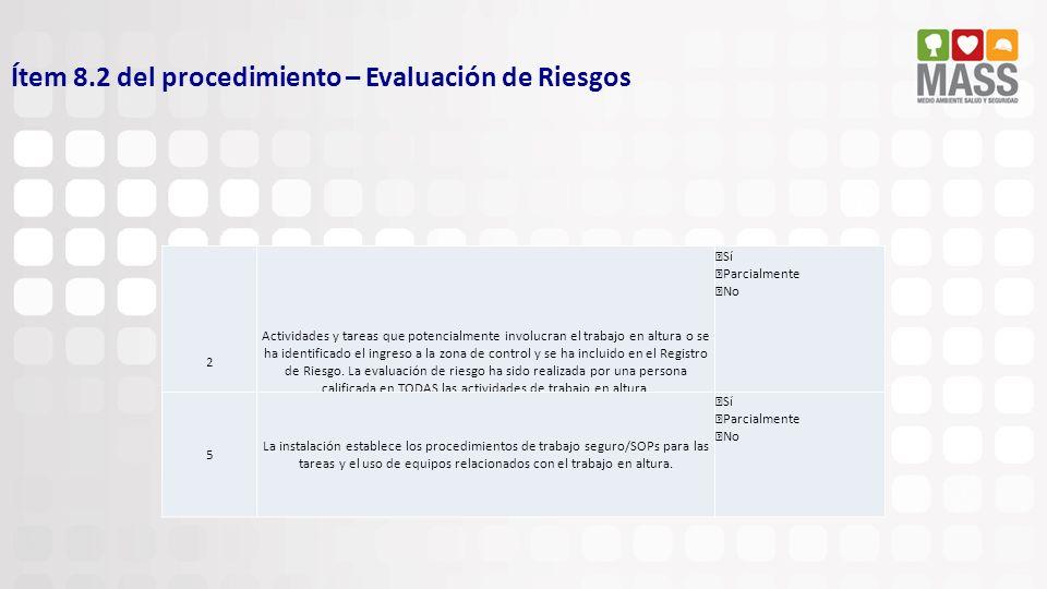 Ítem 8.2 del procedimiento – Evaluación de Riesgos 2 Actividades y tareas que potencialmente involucran el trabajo en altura o se ha identificado el i