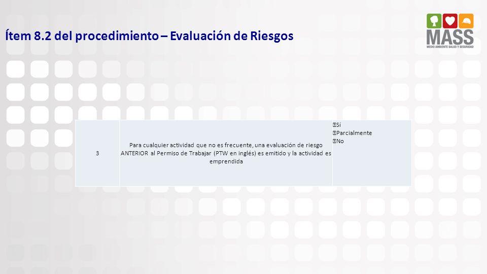 Ítem 8.2 del procedimiento – Evaluación de Riesgos 3 Para cualquier actividad que no es frecuente, una evaluación de riesgo ANTERIOR al Permiso de Tra