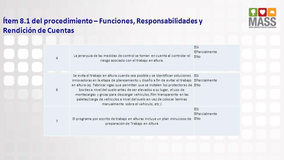Ítem 8.1 del procedimiento – Funciones, Responsabilidades y Rendición de Cuentas 7 El programa por escrito de trabajo en alturas incluye un plan minuc