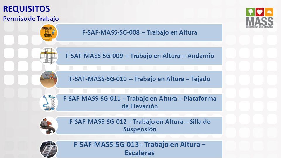 REQUISITOS Permiso de Trabajo F-SAF-MASS-SG-008 – Trabajo en Altura F-SAF-MASS-SG-009 – Trabajo en Altura – Andamio F-SAF-MASS-SG-010 – Trabajo en Alt