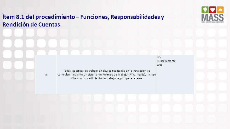 Ítem 8.1 del procedimiento – Funciones, Responsabilidades y Rendición de Cuentas 8 Todas las tareas de trabajo en alturas realizadas en la instalación