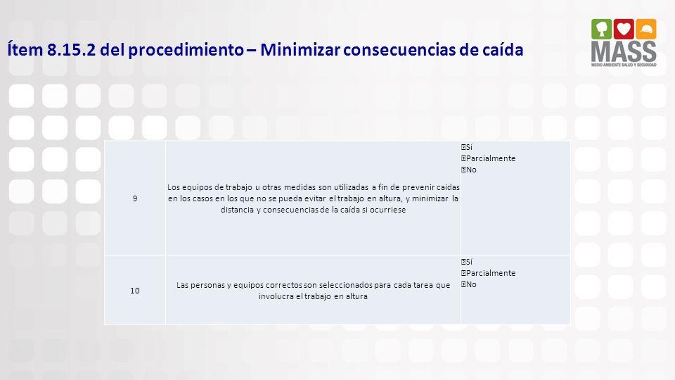 Ítem 8.15.2 del procedimiento – Minimizar consecuencias de caída 9 Los equipos de trabajo u otras medidas son utilizadas a fin de prevenir caídas en l