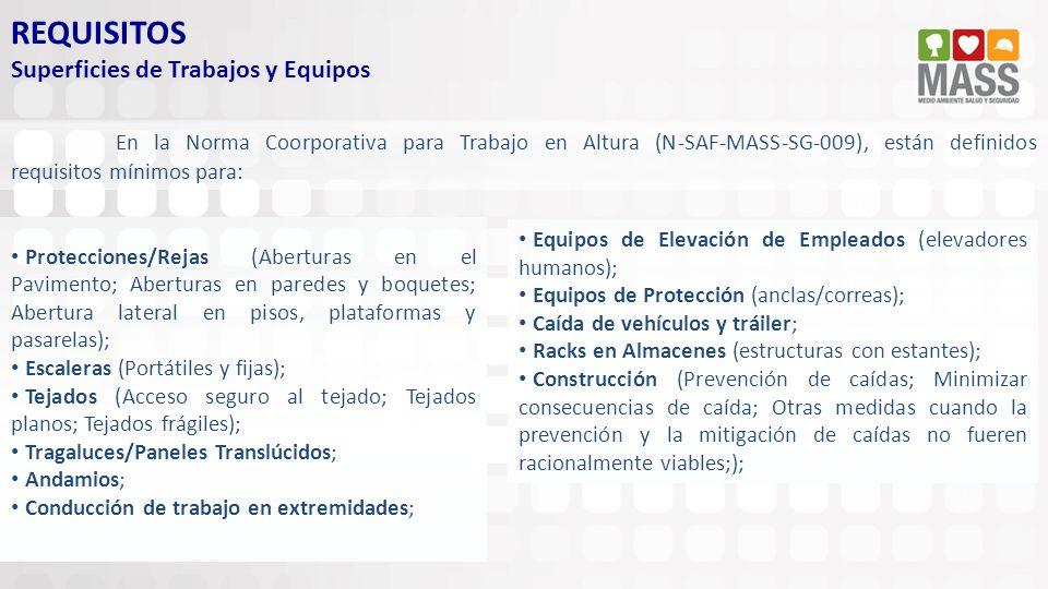 REQUISITOS Superficies de Trabajos y Equipos En la Norma Coorporativa para Trabajo en Altura (N-SAF-MASS-SG-009), están definidos requisitos mínimos p