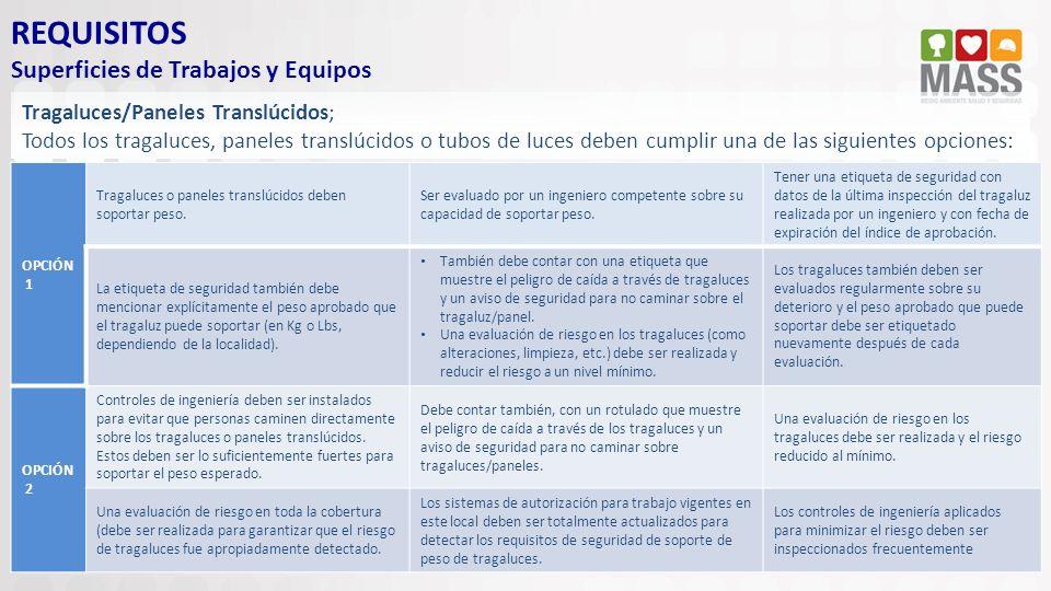 REQUISITOS Superficies de Trabajos y Equipos Tragaluces/Paneles Translúcidos; Todos los tragaluces, paneles translúcidos o tubos de luces deben cumpli