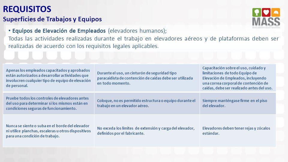 REQUISITOS Superficies de Trabajos y Equipos Equipos de Elevación de Empleados (elevadores humanos); Todas las actividades realizadas durante el traba