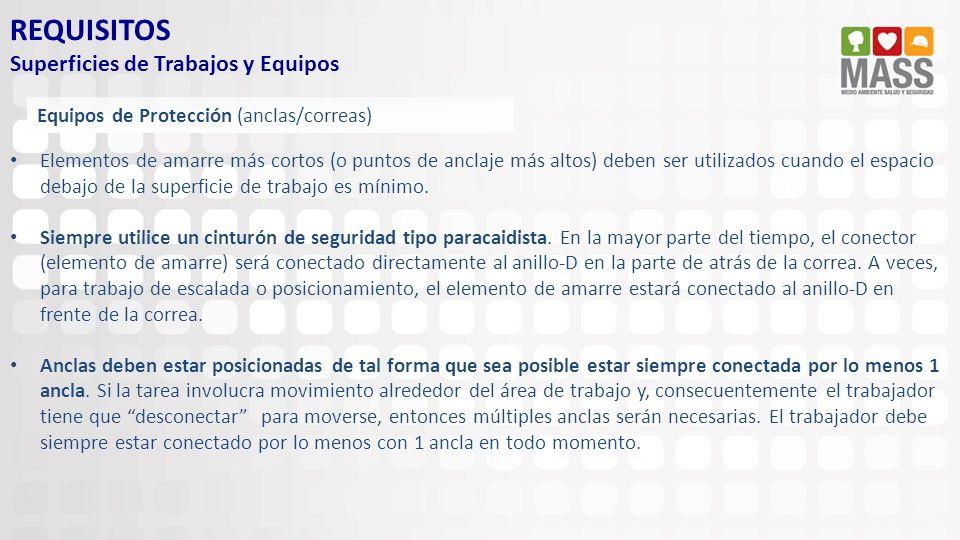 REQUISITOS Superficies de Trabajos y Equipos Equipos de Protección (anclas/correas) Elementos de amarre más cortos (o puntos de anclaje más altos) deb