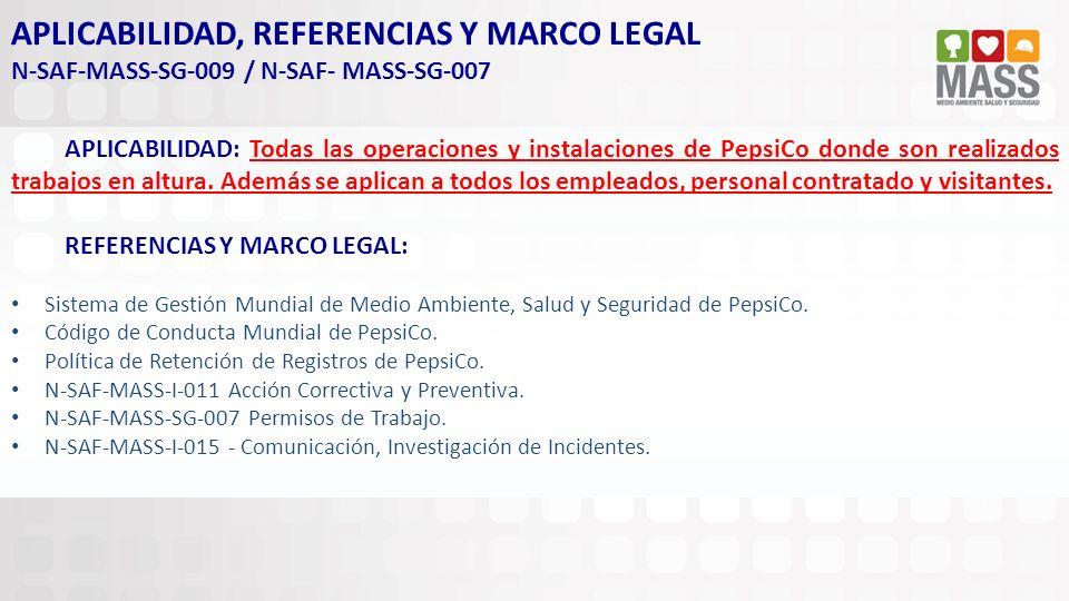 APLICABILIDAD, REFERENCIAS Y MARCO LEGAL N-SAF-MASS-SG-009 / N-SAF- MASS-SG-007 APLICABILIDAD: Todas las operaciones y instalaciones de PepsiCo donde