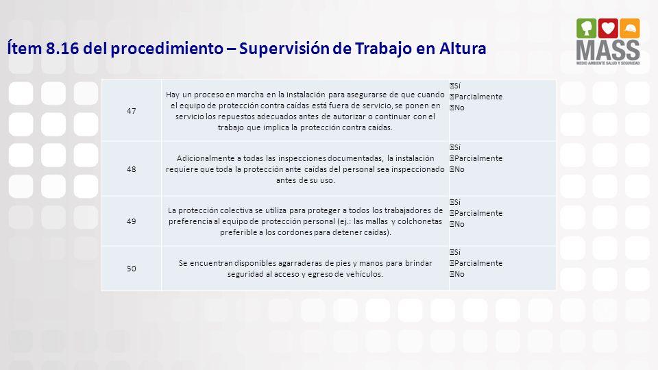 Ítem 8.16 del procedimiento – Supervisión de Trabajo en Altura 47 Hay un proceso en marcha en la instalación para asegurarse de que cuando el equipo d