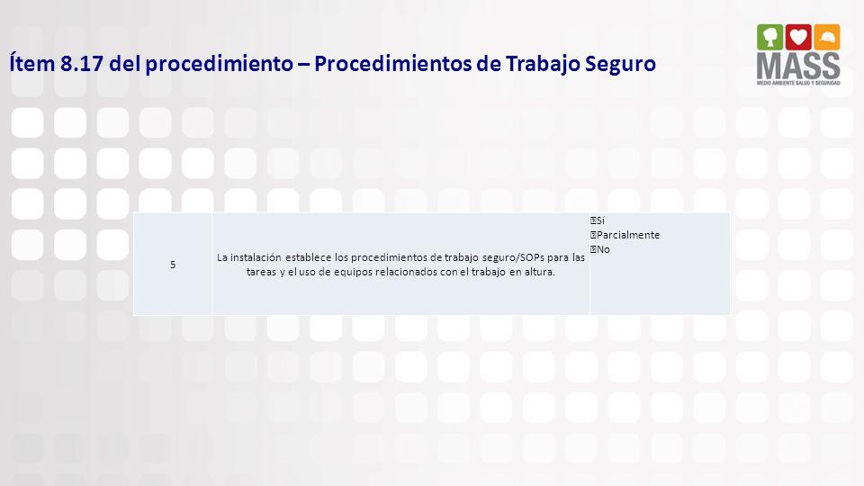 Ítem 8.17 del procedimiento – Procedimientos de Trabajo Seguro 5 La instalación establece los procedimientos de trabajo seguro/SOPs para las tareas y