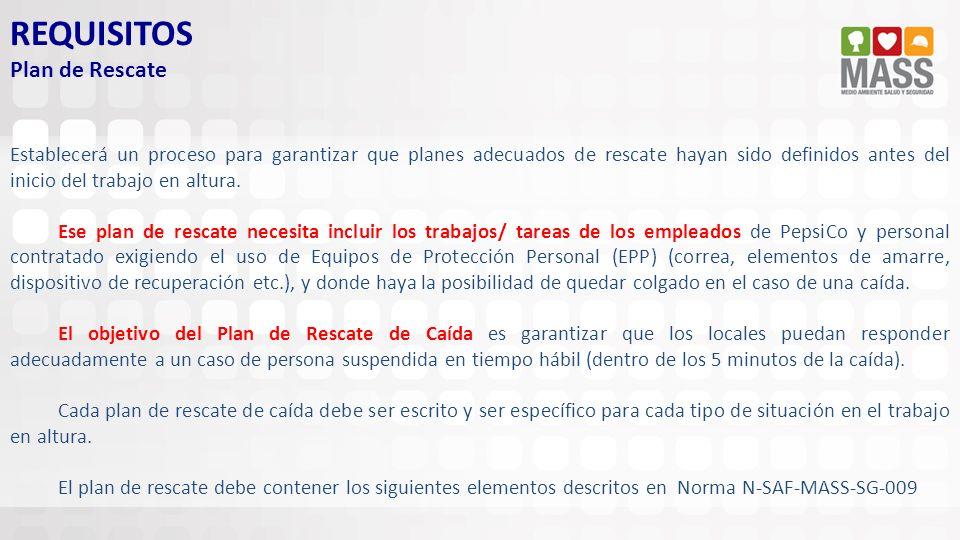 REQUISITOS Plan de Rescate Establecerá un proceso para garantizar que planes adecuados de rescate hayan sido definidos antes del inicio del trabajo en