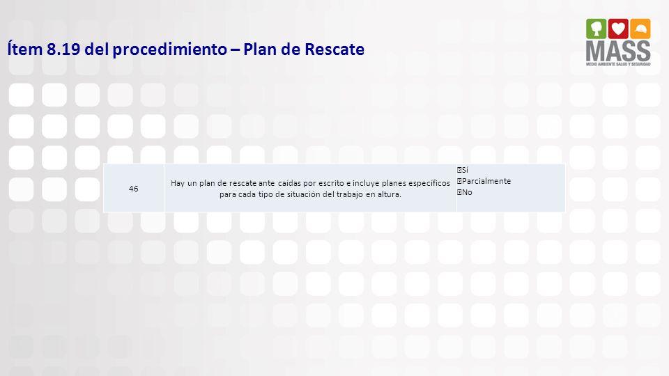 Ítem 8.19 del procedimiento – Plan de Rescate 46 Hay un plan de rescate ante caídas por escrito e incluye planes específicos para cada tipo de situaci