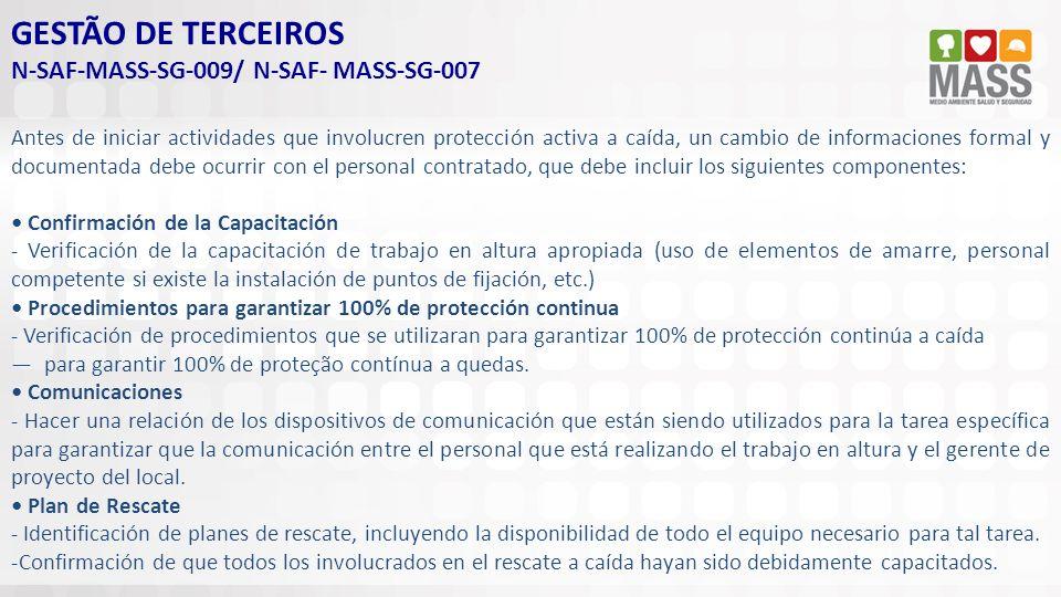 GESTÃO DE TERCEIROS N-SAF-MASS-SG-009/ N-SAF- MASS-SG-007 Antes de iniciar actividades que involucren protección activa a caída, un cambio de informac