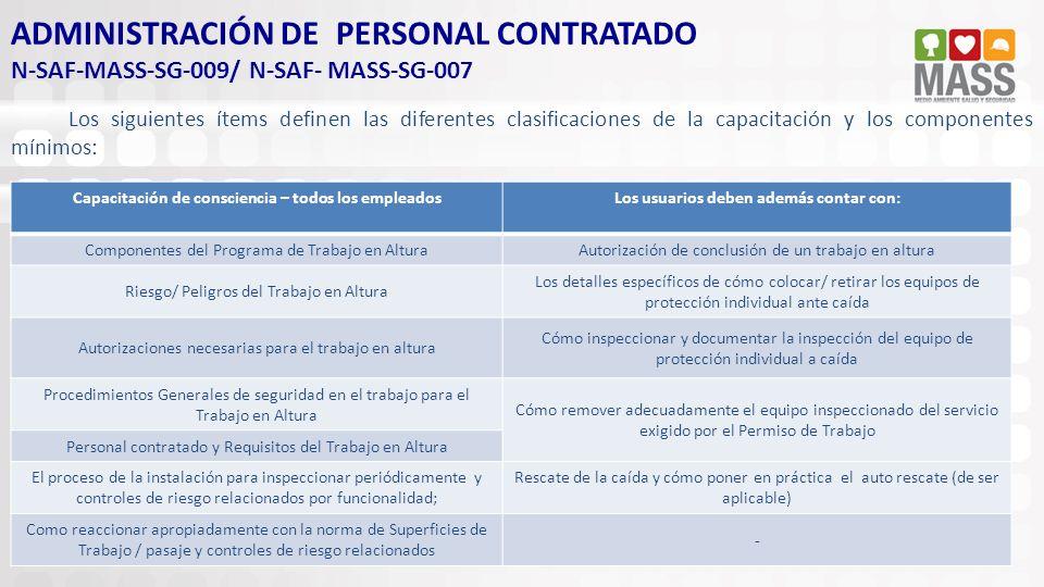 ADMINISTRACIÓN DE PERSONAL CONTRATADO N-SAF-MASS-SG-009/ N-SAF- MASS-SG-007 Los siguientes ítems definen las diferentes clasificaciones de la capacita