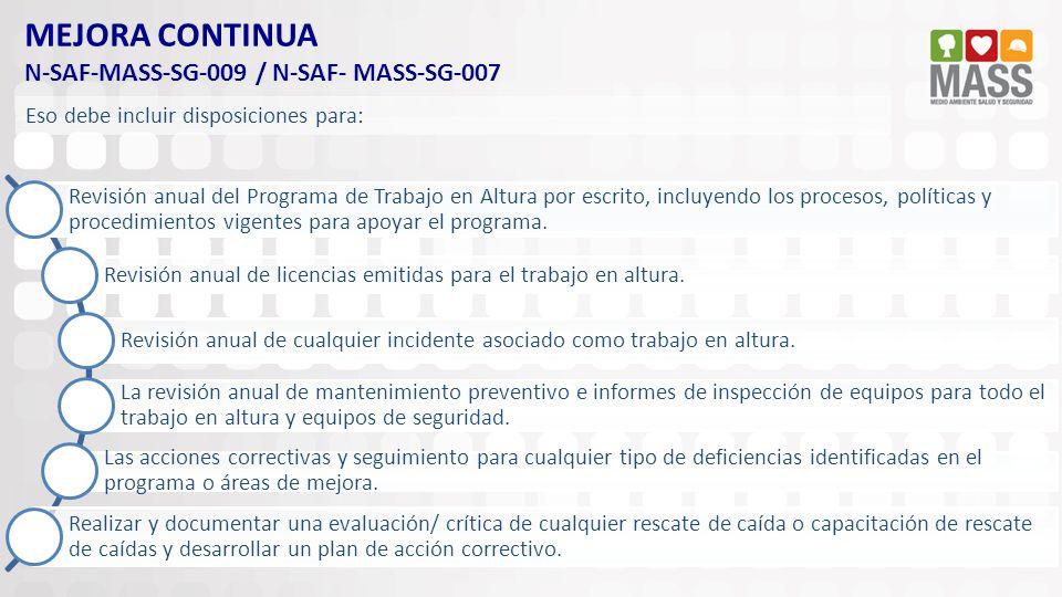 MEJORA CONTINUA N-SAF-MASS-SG-009 / N-SAF- MASS-SG-007 Revisión anual del Programa de Trabajo en Altura por escrito, incluyendo los procesos, política