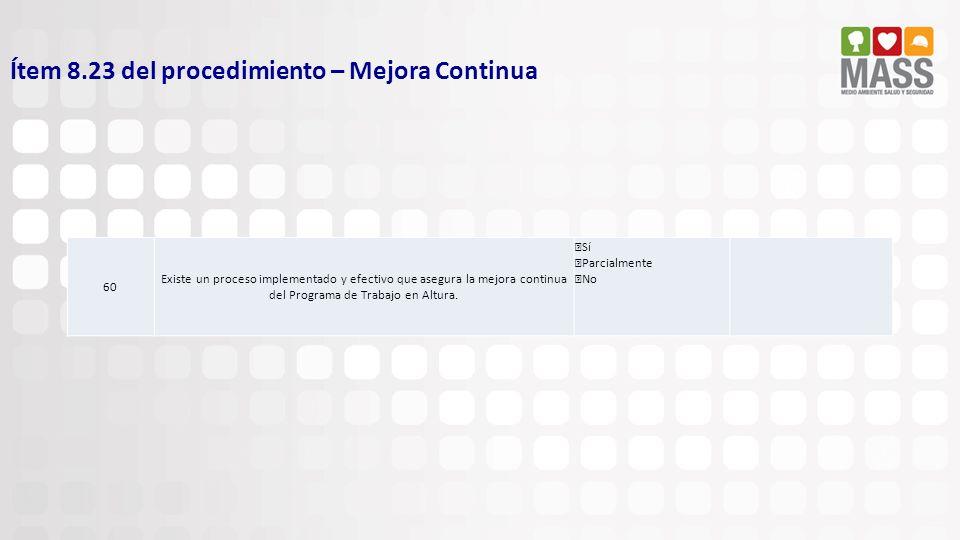 Ítem 8.23 del procedimiento – Mejora Continua 60 Existe un proceso implementado y efectivo que asegura la mejora continua del Programa de Trabajo en A