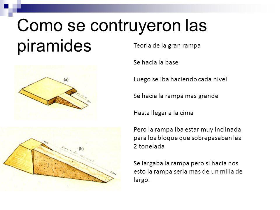 Como se contruyeron las piramides Teoria de la gran rampa Se hacia la base Luego se iba haciendo cada nivel Se hacia la rampa mas grande Hasta llegar