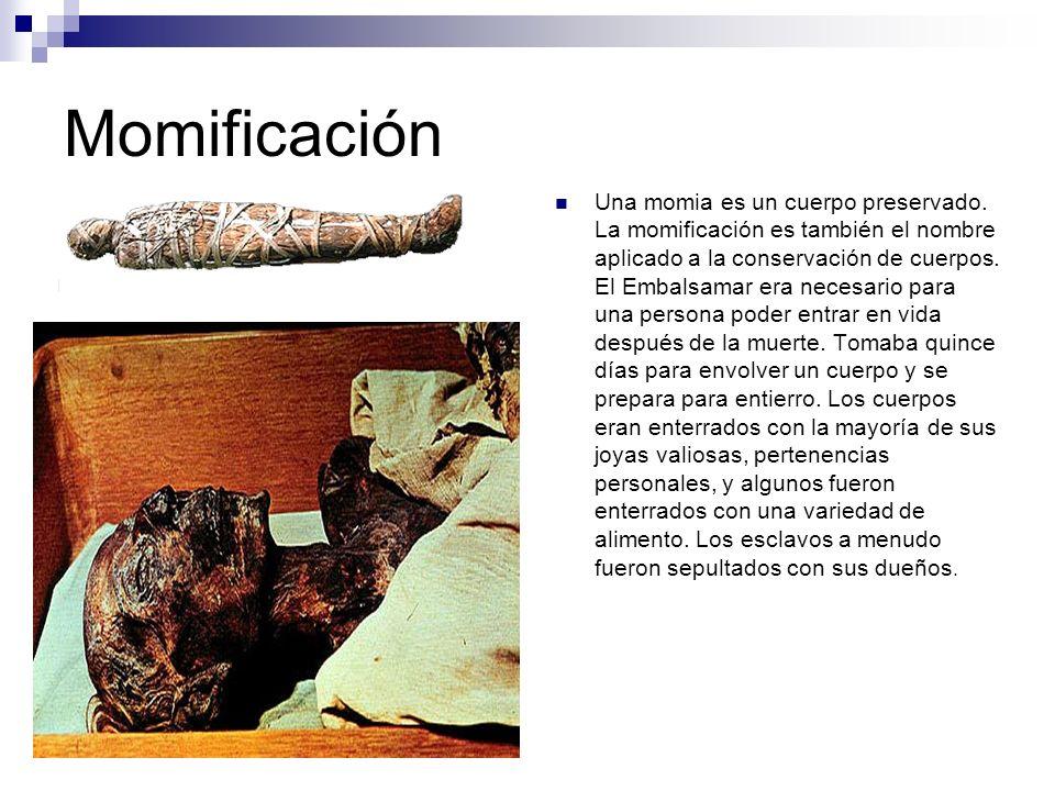 Momificación Una momia es un cuerpo preservado. La momificación es también el nombre aplicado a la conservación de cuerpos. El Embalsamar era necesari