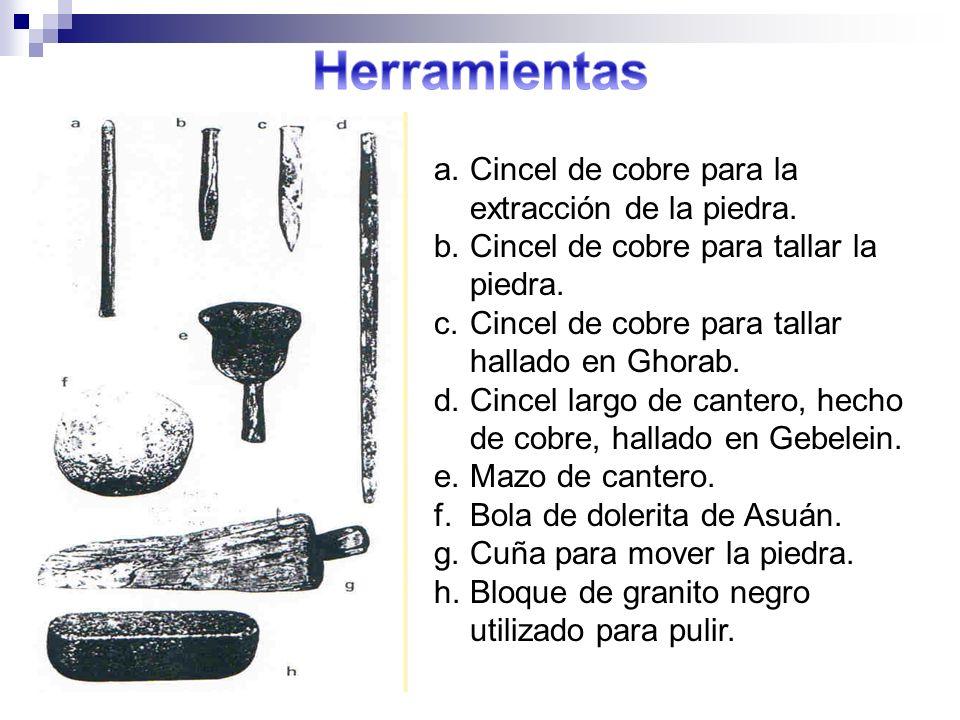 a.Cincel de cobre para la extracción de la piedra. b.Cincel de cobre para tallar la piedra. c.Cincel de cobre para tallar hallado en Ghorab. d.Cincel