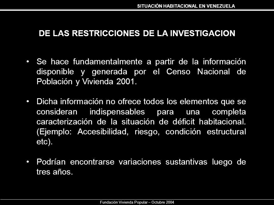 SITUACIÓN HABITACIONAL EN VENEZUELA Fundación Vivienda Popular – Octubre 2004 DE LAS RESTRICCIONES DE LA INVESTIGACION Se hace fundamentalmente a part