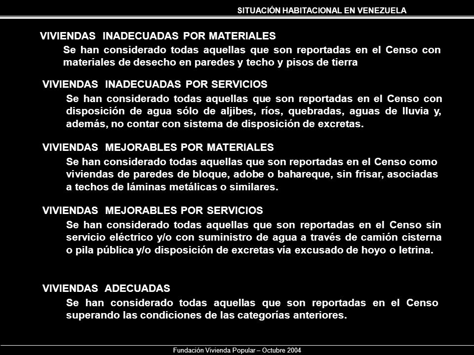 SITUACIÓN HABITACIONAL EN VENEZUELA Fundación Vivienda Popular – Octubre 2004 VIVIENDAS INADECUADAS POR MATERIALES Se han considerado todas aquellas q