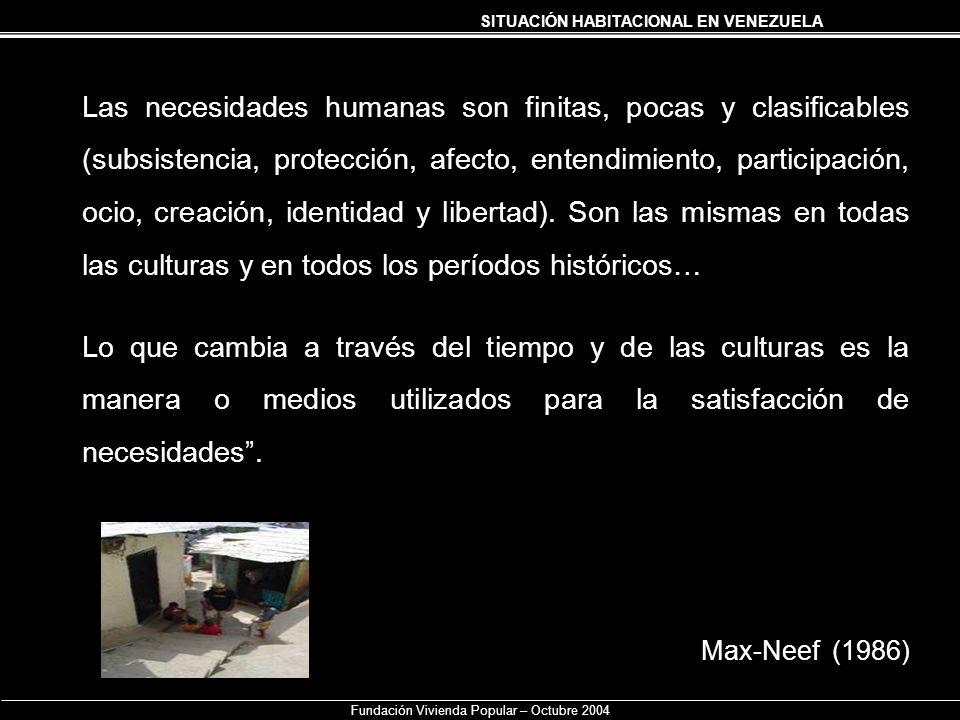 SITUACIÓN HABITACIONAL EN VENEZUELA Fundación Vivienda Popular – Octubre 2004 Las necesidades humanas son finitas, pocas y clasificables (subsistencia