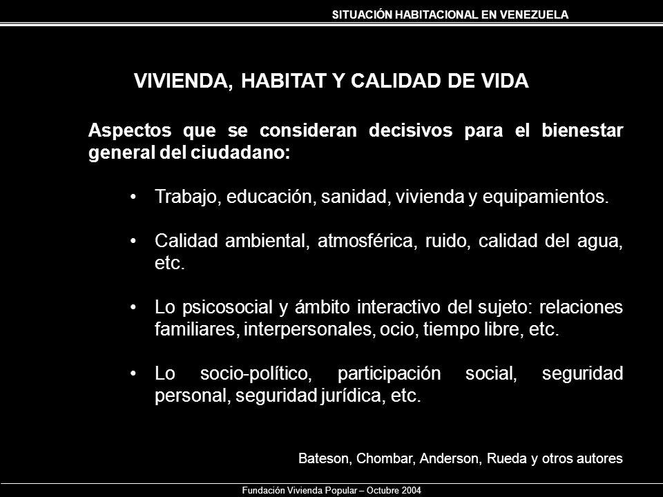 SITUACIÓN HABITACIONAL EN VENEZUELA Fundación Vivienda Popular – Octubre 2004 VIVIENDA, HABITAT Y CALIDAD DE VIDA Aspectos que se consideran decisivos