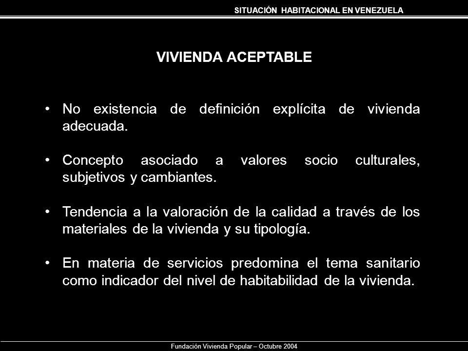 SITUACIÓN HABITACIONAL EN VENEZUELA Fundación Vivienda Popular – Octubre 2004 VIVIENDA ACEPTABLE No existencia de definición explícita de vivienda ade