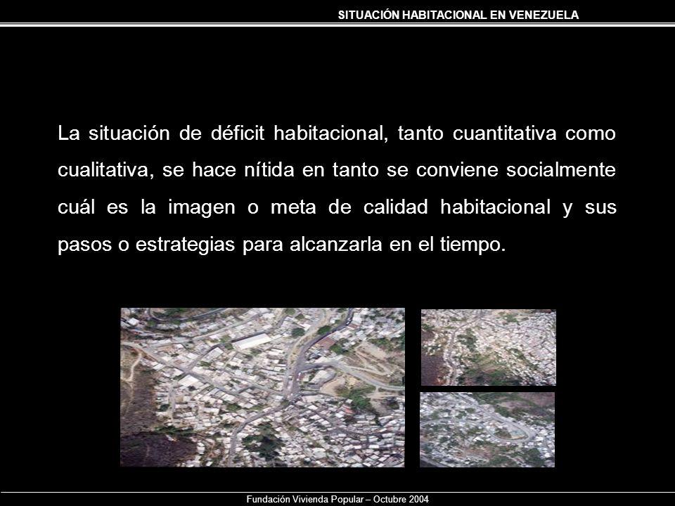 SITUACIÓN HABITACIONAL EN VENEZUELA Fundación Vivienda Popular – Octubre 2004 La situación de déficit habitacional, tanto cuantitativa como cualitativ