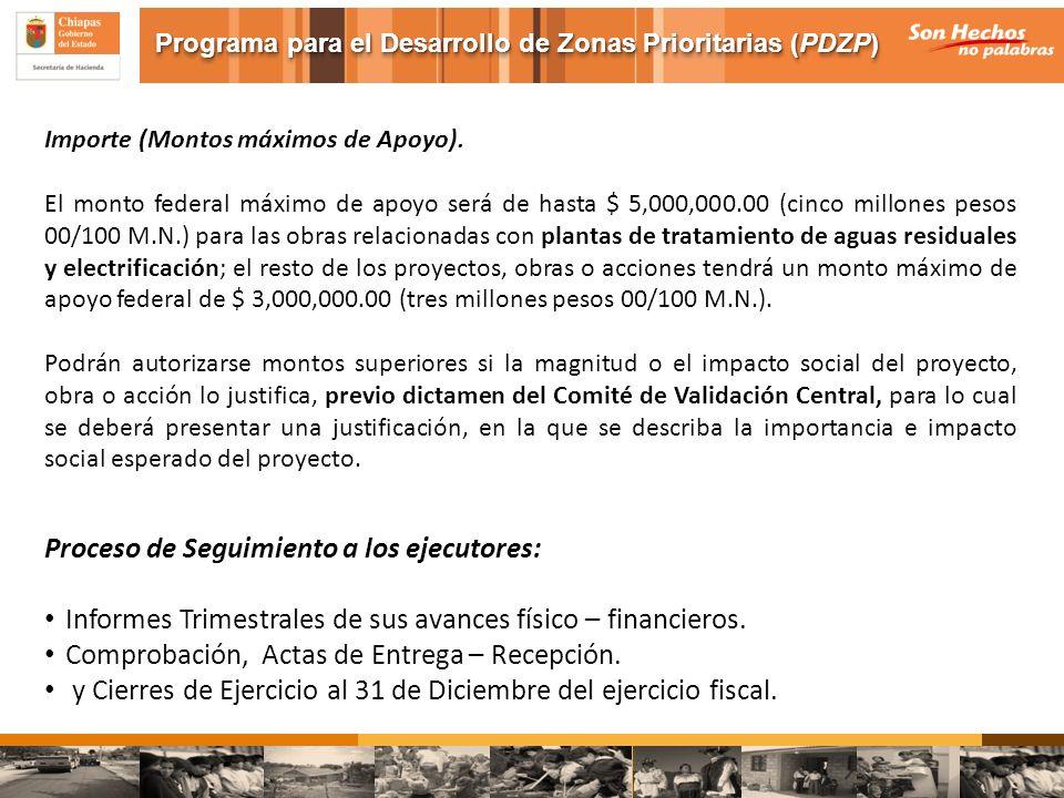 Importe (Montos máximos de Apoyo). El monto federal máximo de apoyo será de hasta $ 5,000,000.00 (cinco millones pesos 00/100 M.N.) para las obras rel