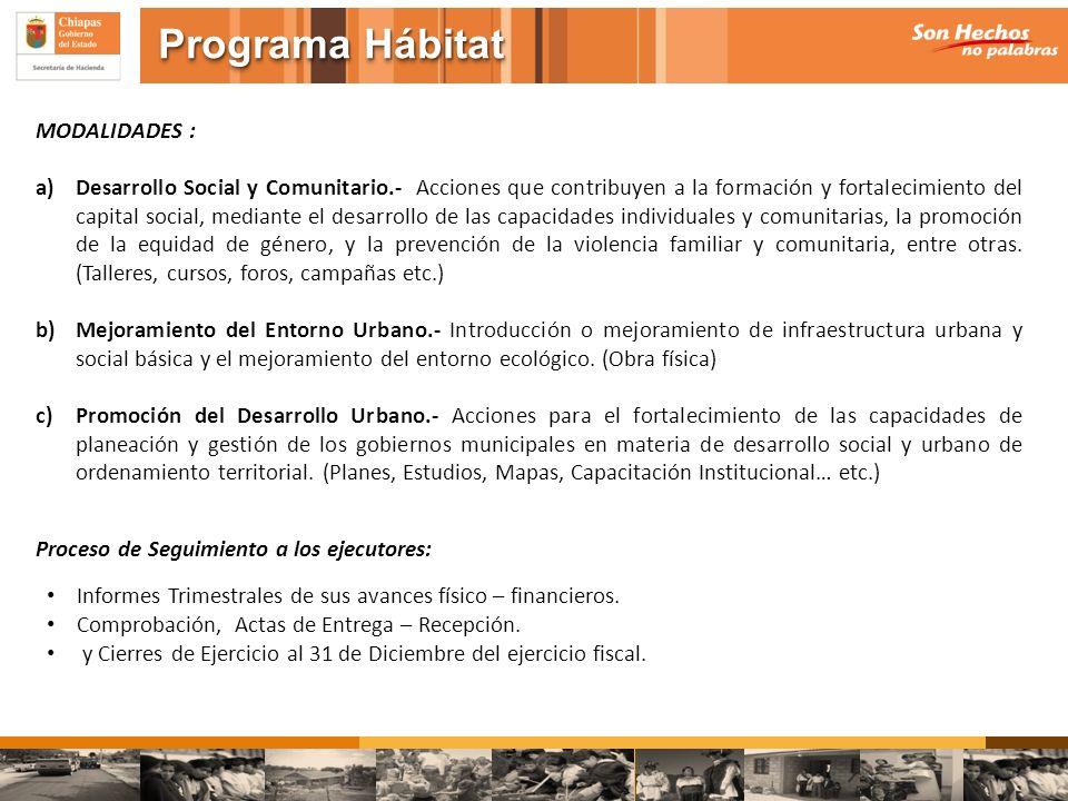 MODALIDADES : a)Desarrollo Social y Comunitario.- Acciones que contribuyen a la formación y fortalecimiento del capital social, mediante el desarrollo