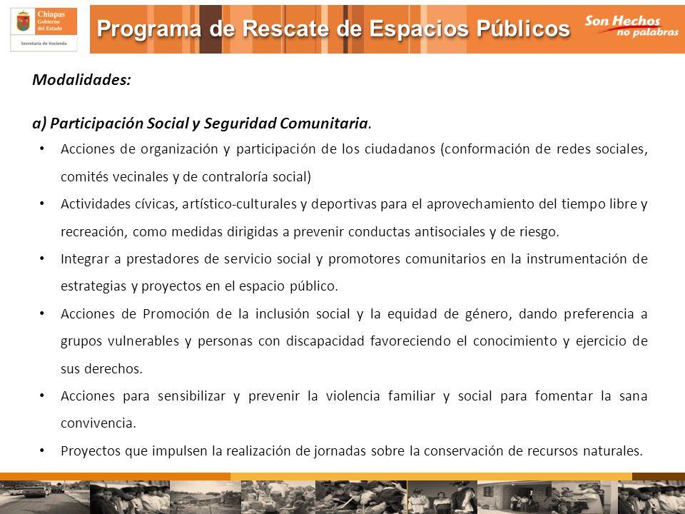 Modalidades: a) Participación Social y Seguridad Comunitaria. Acciones de organización y participación de los ciudadanos (conformación de redes social