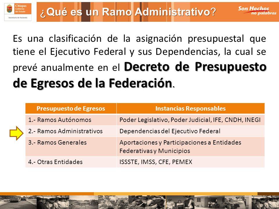 ¿Qué es un Ramo Administrativo? Decreto de Presupuesto de Egresos de la Federación. Es una clasificación de la asignación presupuestal que tiene el Ej