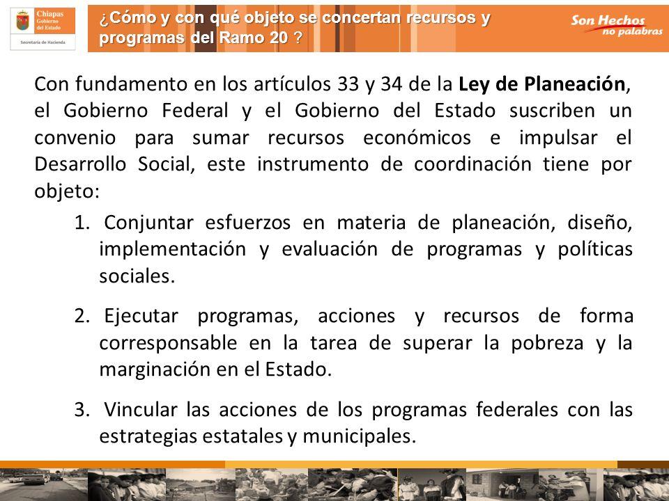Con fundamento en los artículos 33 y 34 de la Ley de Planeación, el Gobierno Federal y el Gobierno del Estado suscriben un convenio para sumar recurso