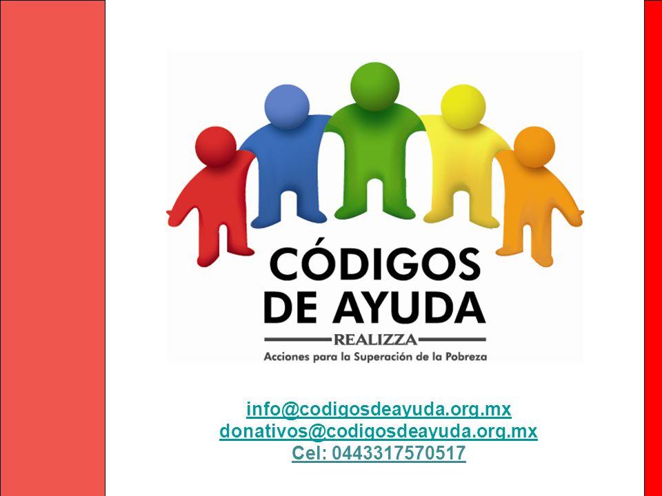 Congregación Mariana Trinitaria, A. C. info@codigosdeayuda.org.mx donativos@codigosdeayuda.org.mx Cel: 0443317570517