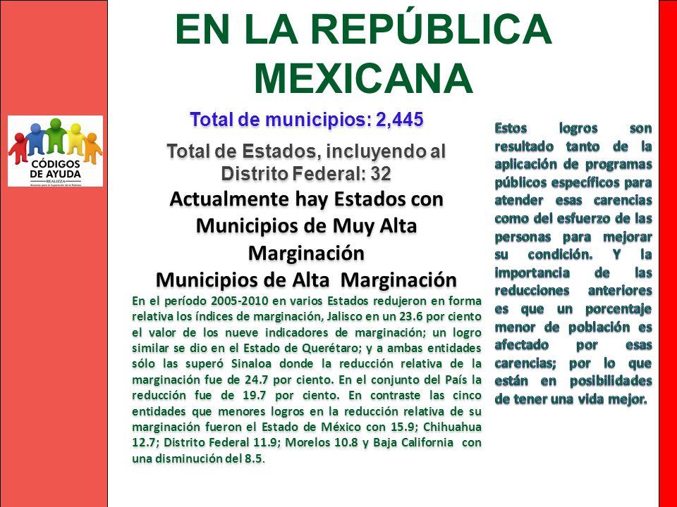 EN LA REPÚBLICA MEXICANA Total de municipios: 2,445 Total de Estados, incluyendo al Distrito Federal: 32 Actualmente hay Estados con Municipios de Muy