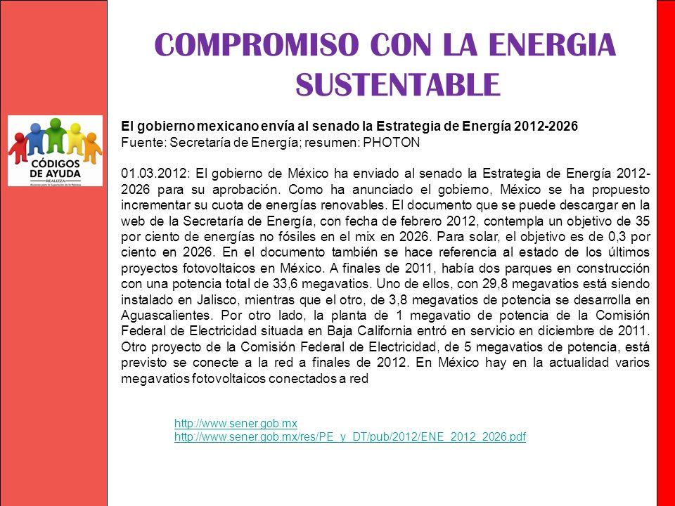 Sumando Esfuerzos con Sentido Social COMPROMISO CON LA ENERGIA SUSTENTABLE http://www.sener.gob.mx http://www.sener.gob.mx/res/PE_y_DT/pub/2012/ENE_20