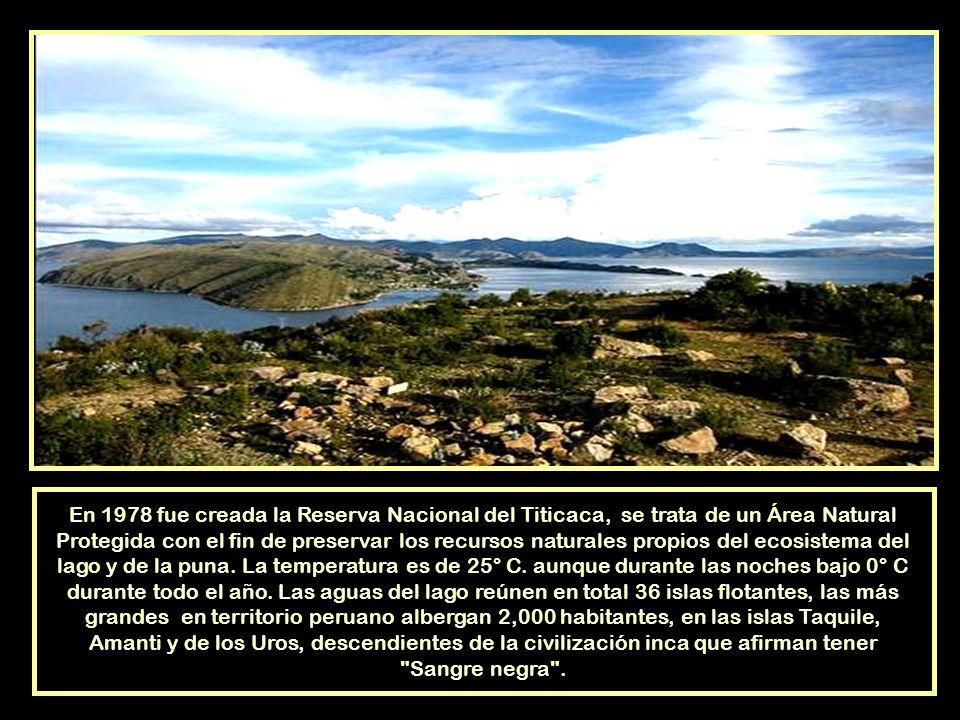 El Lago Titicaca toma su nombre de la isla llamada intikjarka, palabra formada por dos palabras aymaras: inti, sol y kjarka, peñascoy que es conocida como la Isla del Sol,es muy importante en la mitología andina, según la leyenda, de sus aguas emergieron Manco Capac y Mama Occllo, hijos del Sol y fundadores del imperio Inca.