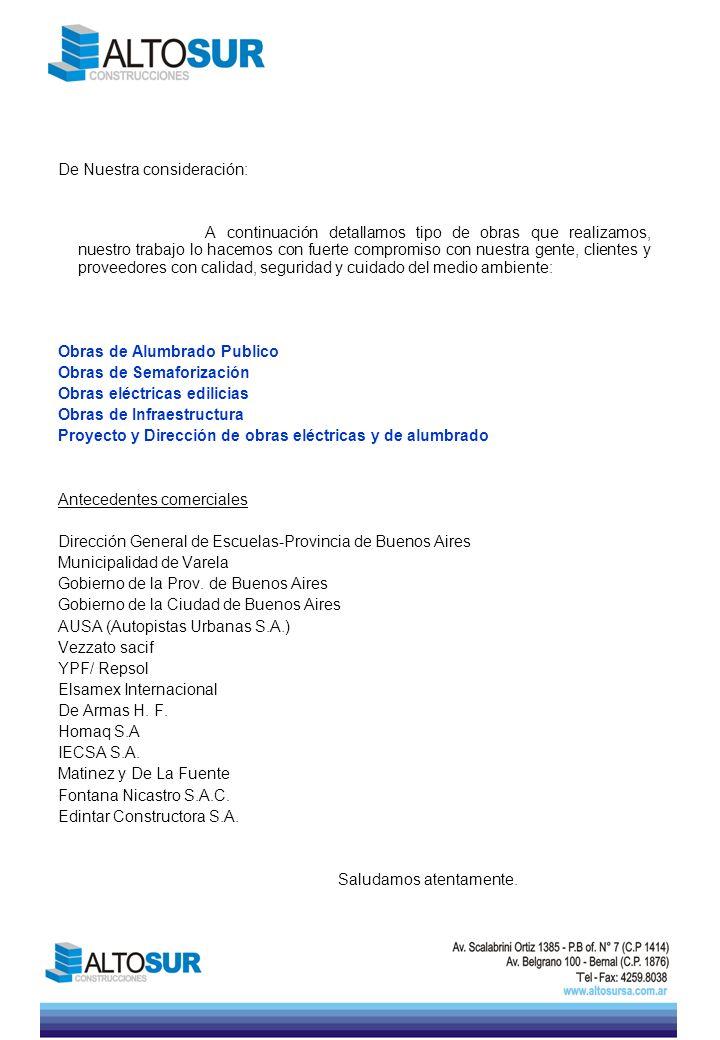 OBRAS DE ALUMBRADO PÚBLICO OBRA: Cementerio de la Chacarita UBICACIÓN: zona 2 del G.C.B.A.