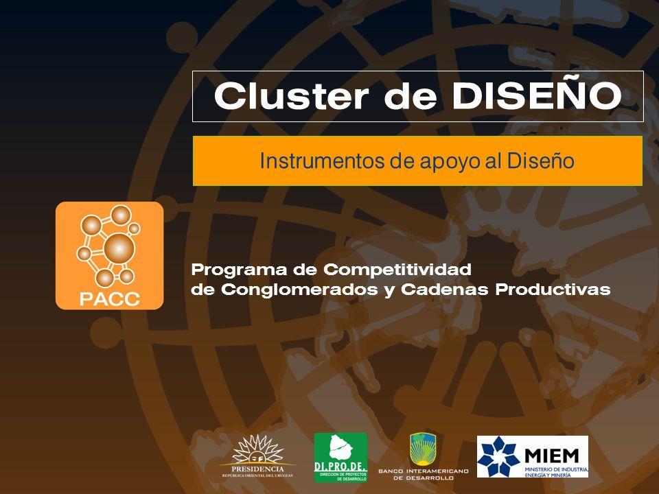 Proyectos Asociativos PACC Pro Industria+Diseño Instrumentos de apoyo al Diseño Proyectos estructurantes y Abiertos Creación y funcionamiento de la Cámara, Capacitación, Calidad, …..