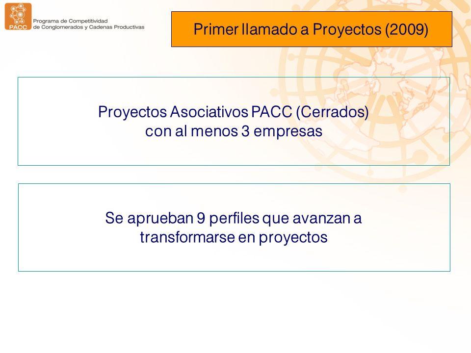 Proyectos Asociativos PACC (Cerrados) con al menos 3 empresas Primer llamado a Proyectos (2009) Se aprueban 9 perfiles que avanzan a transformarse en