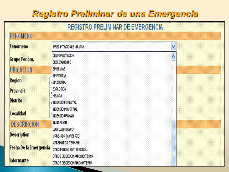 Registro Preliminar de una Emergencia