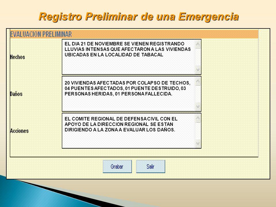 EL DIA 21 DE NOVIEMBRE SE VIENEN REGISTRANDO LLUVIAS INTENSAS QUE AFECTARON A LAS VIVIENDAS UBICADAS EN LA LOCALIDAD DE TABACAL 20 VIVIENDAS AFECTADAS POR COLAPSO DE TECHOS, 04 PUENTES AFECTADOS, 01 PUENTE DESTRUIDO, 03 PERSONAS HERIDAS, 01 PERSONA FALLECIDA.