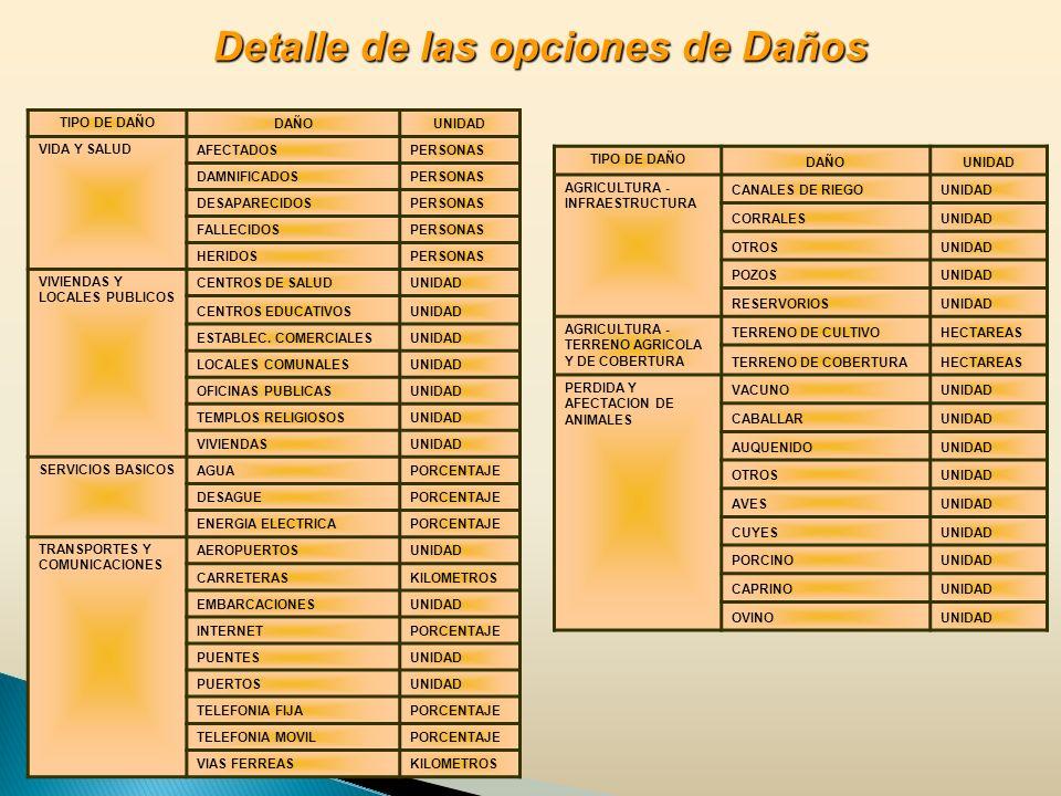 TIPO DE DAÑO DAÑOUNIDAD VIDA Y SALUD AFECTADOSPERSONAS DAMNIFICADOSPERSONAS DESAPARECIDOSPERSONAS FALLECIDOSPERSONAS HERIDOSPERSONAS VIVIENDAS Y LOCALES PUBLICOS CENTROS DE SALUDUNIDAD CENTROS EDUCATIVOSUNIDAD ESTABLEC.