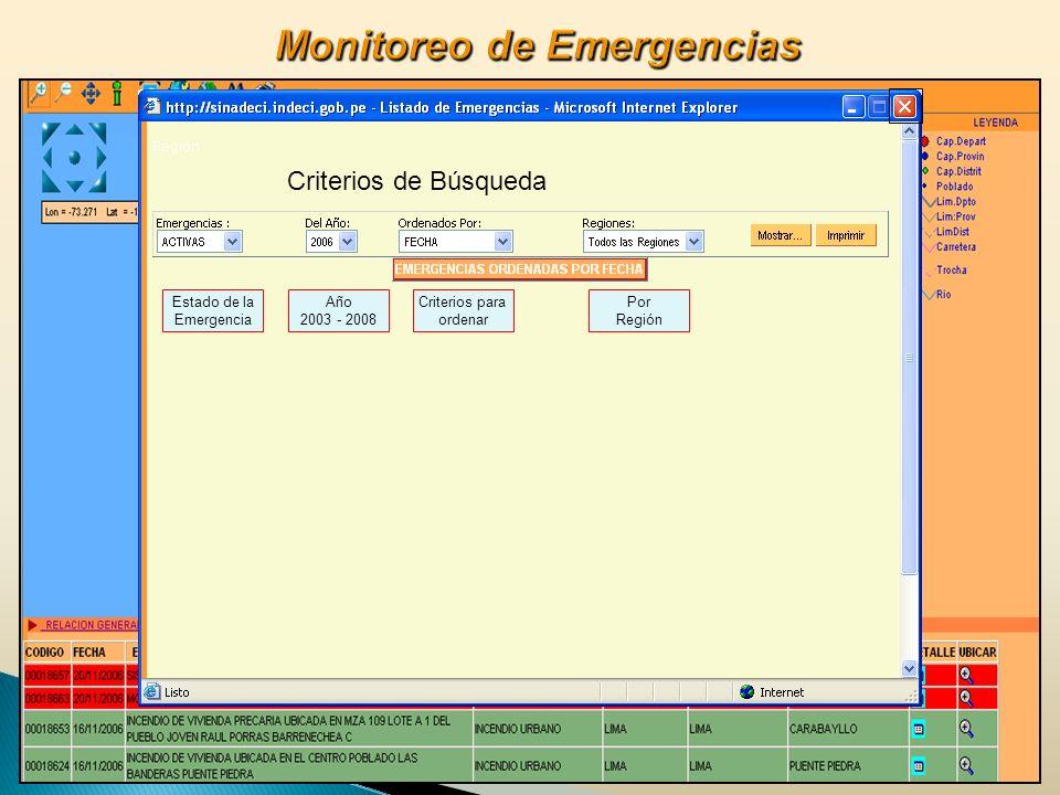 Criterios de Búsqueda Estado de la Emergencia Año 2003 - 2008 Criterios para ordenar Por Región