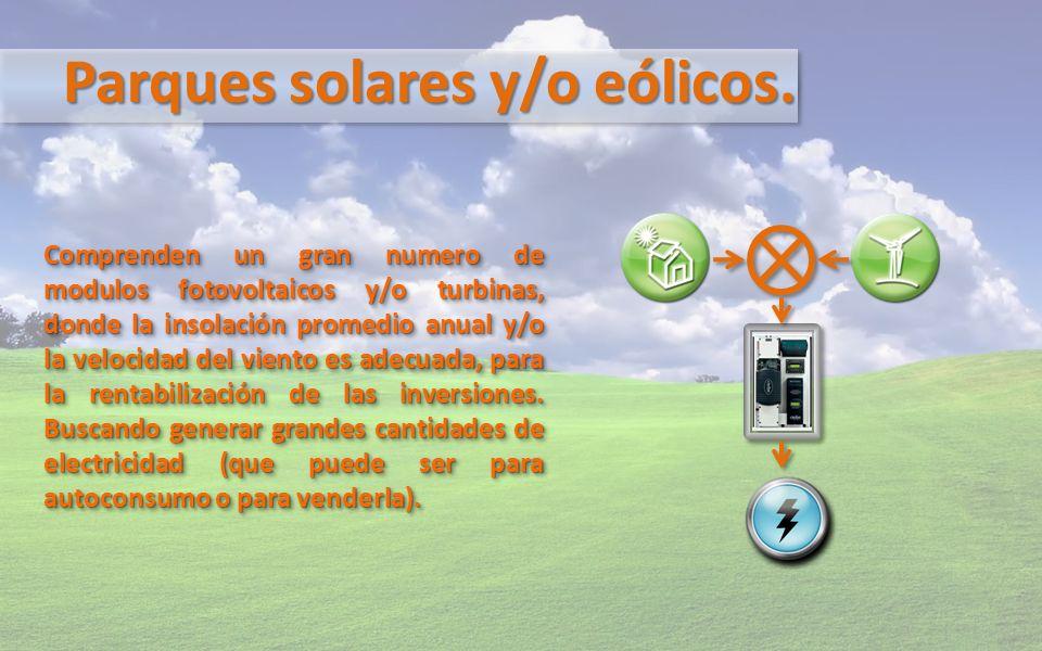 Parques solares y/o eólicos. Comprenden un gran numero de modulos fotovoltaicos y/o turbinas, donde la insolación promedio anual y/o la velocidad del