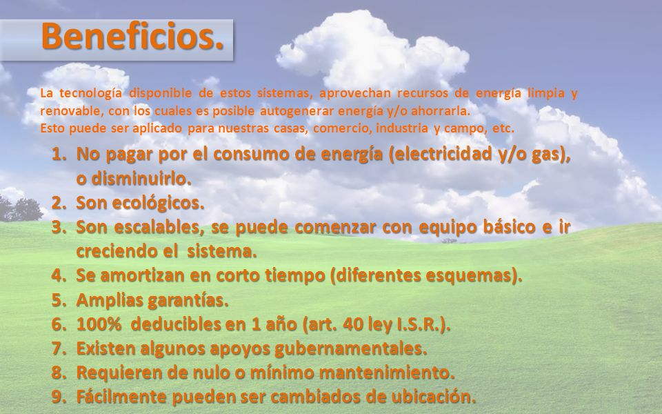¿Qué Ofrecemos.1. Sistemas fotovoltaicos. 2. Sistemas eólicos.