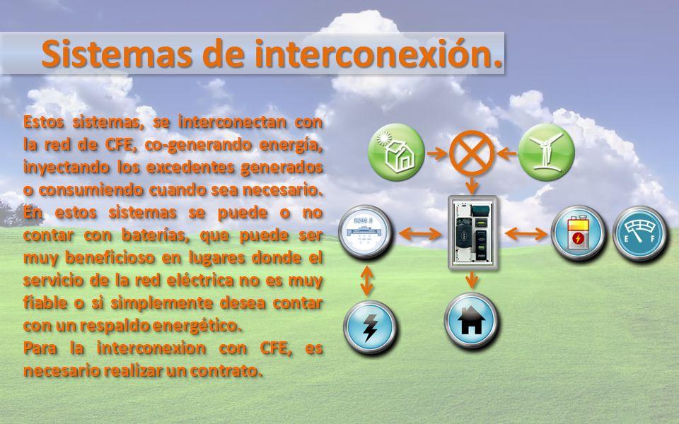 Sistemas de interconexión. Estos sistemas, se interconectan con la red de CFE, co-generando energía, inyectando los excedentes generados o consumiendo