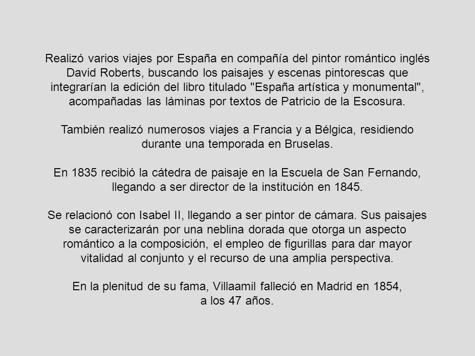 Realizó varios viajes por España en compañía del pintor romántico inglés David Roberts, buscando los paisajes y escenas pintorescas que integrarían la edición del libro titulado España artística y monumental , acompañadas las láminas por textos de Patricio de la Escosura.